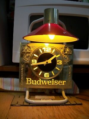 Bar Clock / Light-Budweiser-#004-146s-7-20-89-Everbrite Elec.Sign Co.-Ships Free