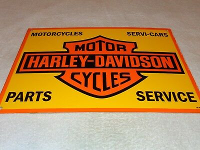 "Vintage Harley Davidson Motorcycles  17"" Porcelain Metal Gasoline & Oil Sign! Nr"