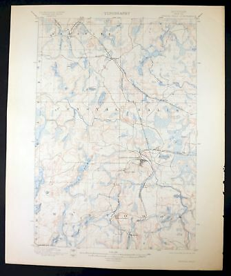 1899 Crystal Falls Michigan Wisconsin Alpha Rare Antique 15-minute USGS Topo Map