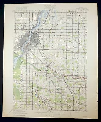 1919 Saginaw Michigan Buena Vista Bridgeport Vintage Original USGS Topo Map