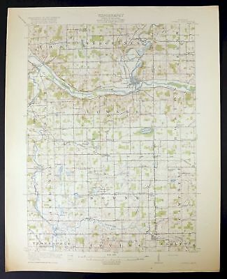 1918 Lowell Michigan Forest Hills Antique USGS Topo Topographic Map