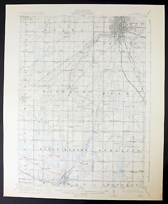 Lansing Michigan Vintage USGS Topo Topographic Map 1912 Waverly Holt 15-minute