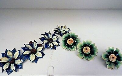 Victorian Metal Curtain Tie Back Enamel Painted Flower Push Pins - See Pictures