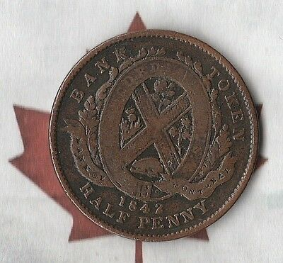 1842 Province of Canada- Bank of Montreal Half Penny Token- Great Shape!