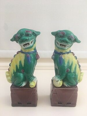 Pair Of Multi Coloured Chinese Mythical Beasts - Kylins - Foo - Shi Shi Dogs 6''