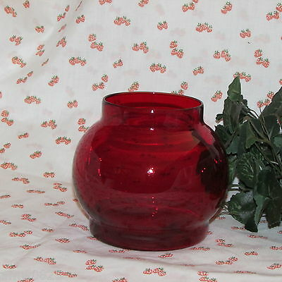 Vintage Ruby Red Glass Flower Vase Round Roly Poly Shape Floral Home Decor
