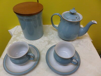 DENBY COLONIAL BLUE - TEA POT, STORAGE JAR, CUPS & SAUCERS - choose from menu