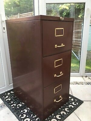 Vintage Metal Filing Cabinet Roneo w Brass handles and Original key plus files
