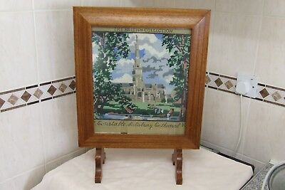 Oak Framed Fire Screen with Embroidered Inset.