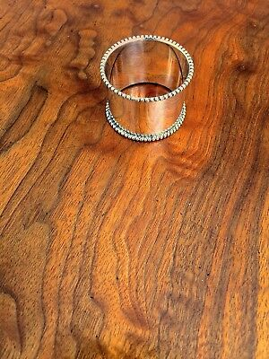 "American Silver-Plate Napkin Ring with Beaded Rim: Mono ""Mrs Jefferson"""