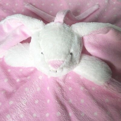 Blankets and Beyond Bunny Rabbit Pink White Baby Lovey Security Blanket