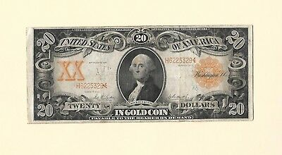 1906 $20 Gold Certificate,Large Yellow/Gold Seal,circulated