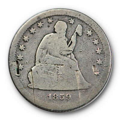 1859 S 25C Liberty Seated Quarter Very Good VG Key Date Scratched #9780
