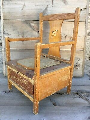 VINTAGE Holmquist Swanson 1950'S WOODEN CHILDS POTTY CHAIR~Enamalware Potty Pot