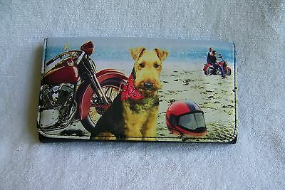 """NWOT """"Airedale Terrier At The Beach"""" Scenic Fabric & Rhinestone Wallet"""