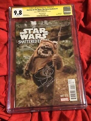 Cgc Ss 9.8~Star Wars The Force Awakens #1~Photo Variant~Signed By Warwick Davis