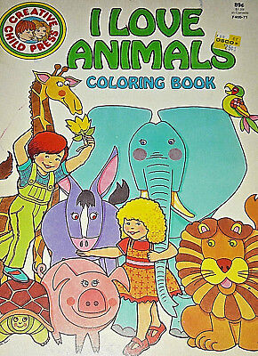 Vintage 1986 unused I Love Animals to Color Coloring book Creative Child Press Q