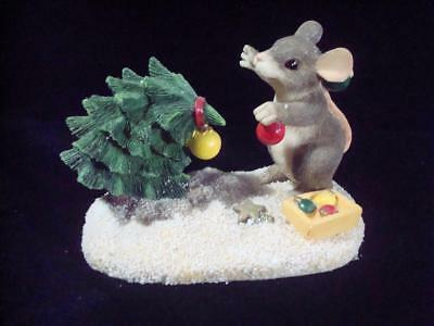 """Fitz & Floyd~Charming Tails~""""Please Just One More~Mouse w/Tree~w/Box~Christmas"""