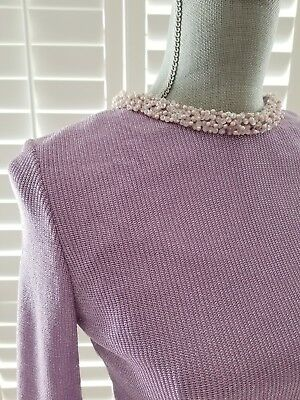 ROSE TAFT Couture Sparkly Lavender Formal Sweater Top Wedding Blouse