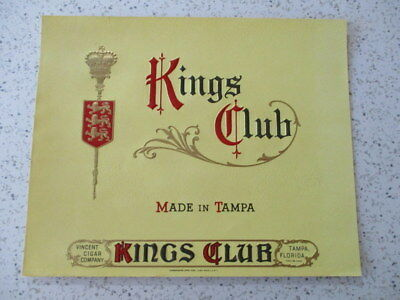 "Vintage Cigar Box Label, ""kings Club"", Un-Used, New-Old-Stock **"