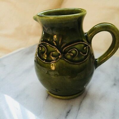 Vintage Pitcher French Pottery Green Decor Ceramic China Handcrafted Art