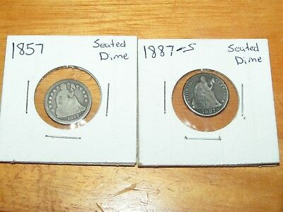 Lot Of 2 Liberty Seated Dimes 1857 1887-S