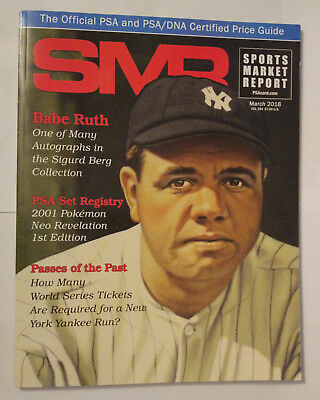 SMR Sports Market Report PSA/DNA Guide Magazine #284 Babe Ruth March 2018