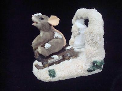 """Fitz & Floyd~Charming Tails~""""Dashing Through the Snow""""~Mouse on Sled~w/Box"""