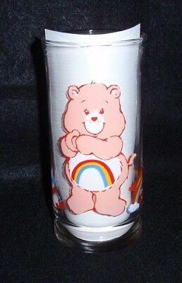 1983 Care Bears Pizza Hut Glass Tumbler Cheer Bear Collector's Limited Edition