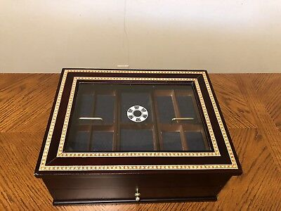 Inlaid Wood Poker Chip and Playing Cards Holder/Box Beautiful Casino Chip Holder