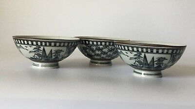 Japanese Rice Bowls Black Hand Painted Scenic Porcelain 3 Pcs Set Japan