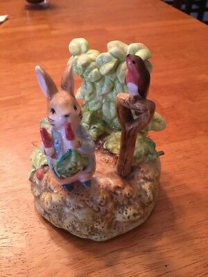 Beatrix Potter Peter Rabbit in Garden Schmid Music box. 1987