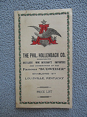 Pre-Prohibition Era BUDWEISER BEER Price List ~ Louisville, Kentucky Distiller