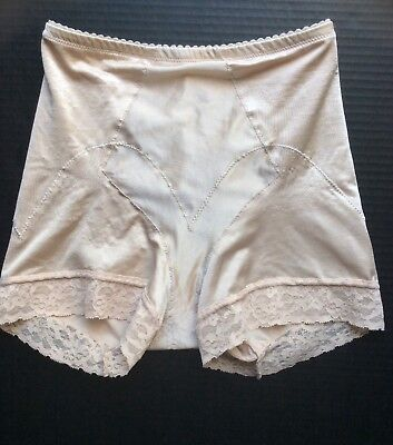 Vintage SEARS Shaper Bottoms Briefs Panty Lace Legs Girdle Beige size Large