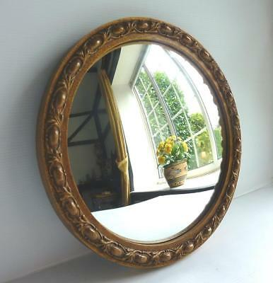 Vintage Convex Ornate Mirror - Antique Gold Finish Wooden Framed - Dia:12 inches
