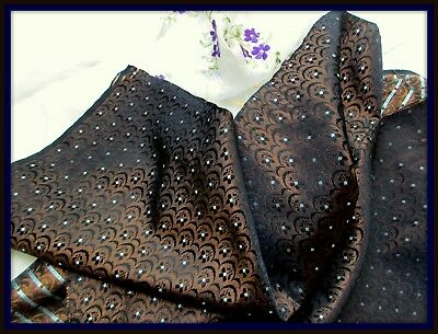Antique Victorian Iridescent Brown Black Silk Fabric Tiny Flower Silver Blue Dot