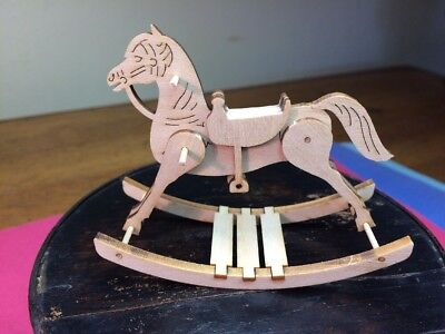 "Vintage 3"" Wood Dollhouse Toy Rocking Horse Miniature Fine Detail"