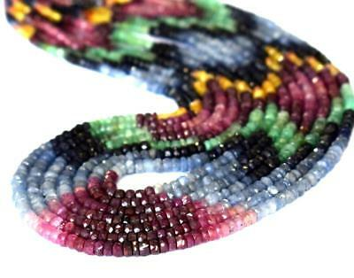"""16"""" Strand Natural Emerald , Ruby , Sapphire Beads 2.5 - 4 Mm 1 Line #d14436"""