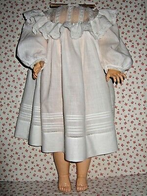 """Antique Vintage Old Beautiful White Baby Dress Fits A 30"""" Or Larger Doll Nice!"""