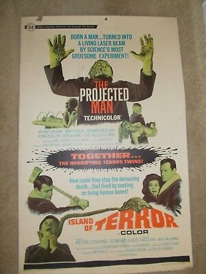 "The Projected Man & Island Of Terror Double Feature 1967 Movie Poster 30"" X 40"""