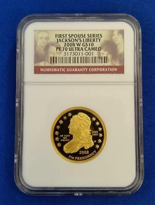 "2008-W GOLD $10 1/2 oz First Spouse ""JACKSON'S LIBERTY"" NGC PF70 Ultra Cameo L93"