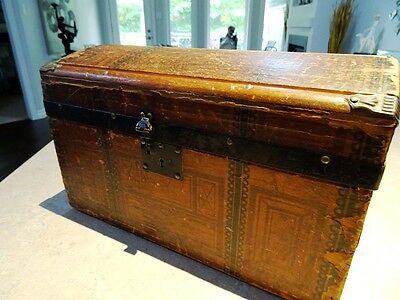 ANTIQUE DOLL CHEST salesman sample steamer trunk VICTORIAN all aboard 1800s WOOD