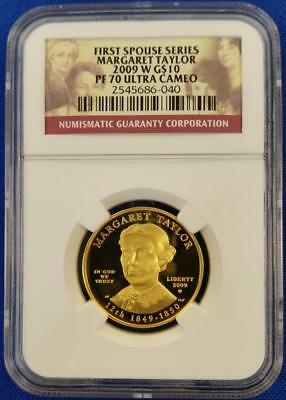 "2009-W GOLD $10  1/2oz First Spouse ""MARGARET TAYLOR"" NGC PF70 Ultra Cameo  L12"