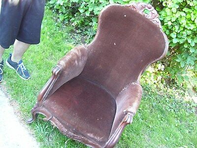 Vintage Victorian Furniture Armchair for repair & or parts MUST SEE PICK-UP