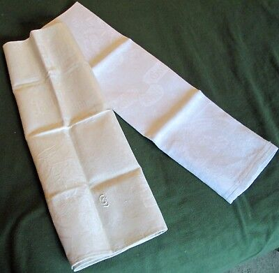 Pair Antique Linen Damask Towels German Mottoes Never Used Male Figurals