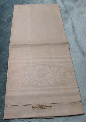 Antique Irish Linen Damask Towel Poppy Florals Hemstitched Never Used w/ Labels