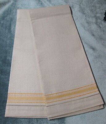 Antique Ivory Linen Towel Pair Yellow Stripes Unused Hemstitched HIgh Quality