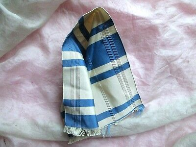 Antique Pale Taupe French Blue Striped Corded Pure Silk Ribbon Trim Sample Pc