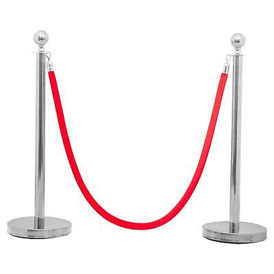 2PC Silver Stainless Steel Stanchion Posts w/ 6.5' Red Burgundy Polyester Rope