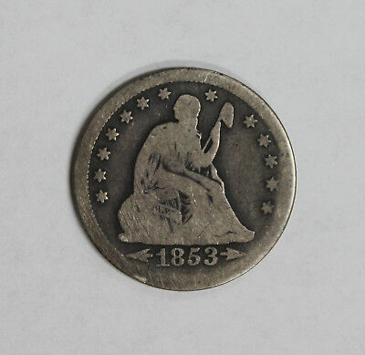 1853 Seated Liberty Quarter with Arrows & Rays - Original Coin